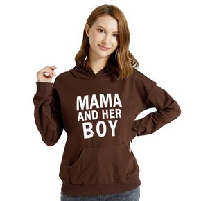 Graphic Brown Long-sleeve Hooded Pullover For Women
