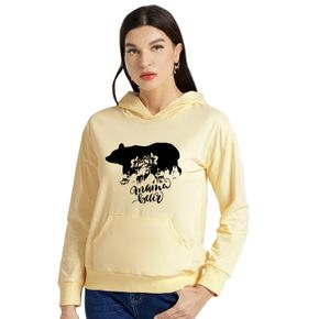 Graphic Beige Long-sleeve Hooded Pullover For Women