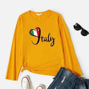 Graphic Ginger Long-sleeve Round-collar Tee for Women