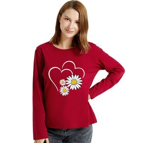Graphic Burgundy Long-sleeve Round-collar Tee for Women