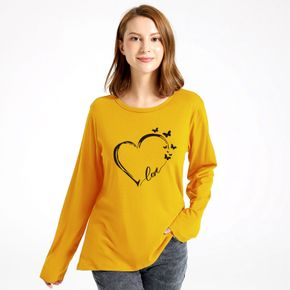 Women Graphic Heart-shaped and Butterfly and Letter Print Round-collar Long-sleeve Tee