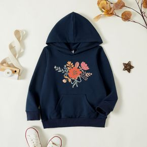 Toddler Graphic Dark Blue Long-sleeve Hooded Pullover