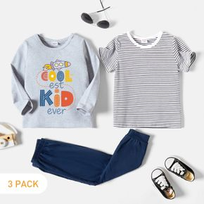3-Pack Toddler Graphic & Striped Tee & Pants Set