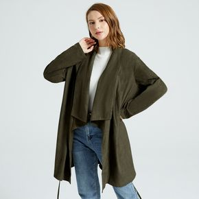 Maternity Green Drape Collar Long-sleeve Front Belted Coat