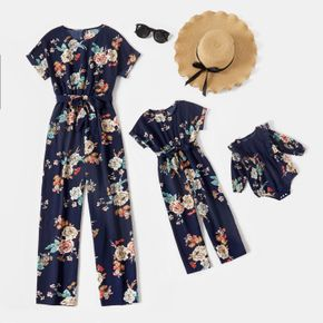 All Over Floral Print Dark Blue Short-sleeve Belted Jumpsuits for Mom and Me