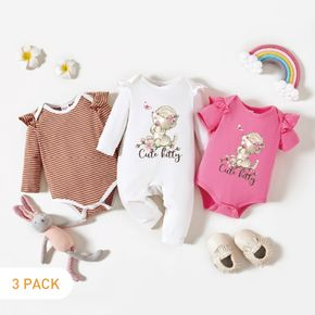 3-Pack Baby Graphic & Striped Ruffled Romper Jumpsuit Set