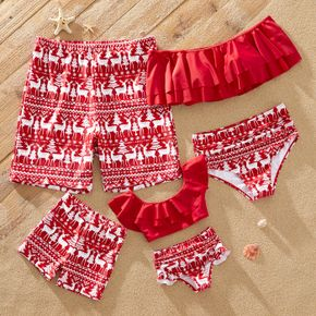 Christmas Family Matching All Over Reindeer Print Red Stretchy Swimsuits
