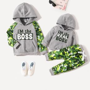 Sibling Matching Letter and Animal Print Grey Long-sleeve Hoodies Sets