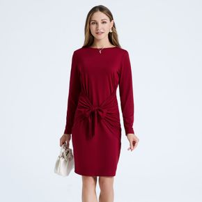Burgundy Color Knot Front Round-collar Long-sleeve Short Dress