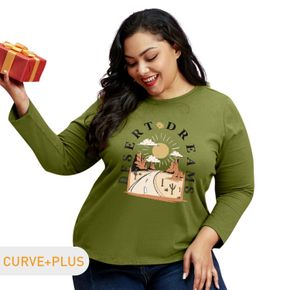 Women Plus Size Cactus and Letter Print Round NeckLong-sleeve Tee