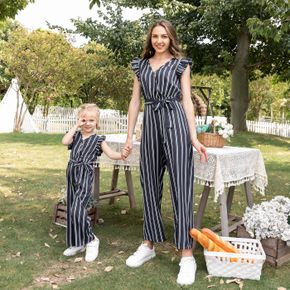Navy Striped Ruffle Sleeveless V-neck Belted Jumpsuits for Mom and Me