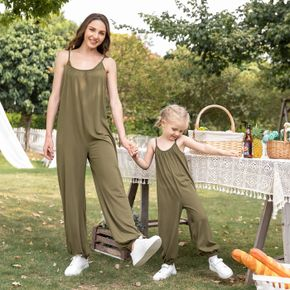 Solid Army Green Sleeveless Spaghetti Strap Jumpsuits for Mom and Me