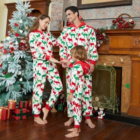 Christmas All Over Reindeer Print Family Matching Long-sleeve Hooded Thickened Polar Fleece Onesies Pajamas Sets (Flame Resistant)