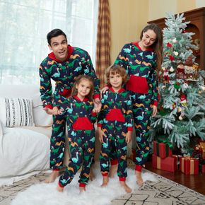 Allover Dinosaur Print Splice Hooded Long-sleeve Family Matching Onesies Pajamas Sets (Flame Resistant)