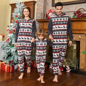 Christmas Print Family Matching Hooded Thickened Long-sleeve Polar Fleece Onesies Pajamas Sets (Flame Resistant)