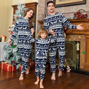 Christmas All Over Print Family Matching Long-sleeve Hooded Thickened Polar Fleece Onesies Pajamas Sets (Flame Resistant)