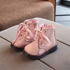 Toddler / Kid Perforated Lace-up Side Zipper Solid Color Boots