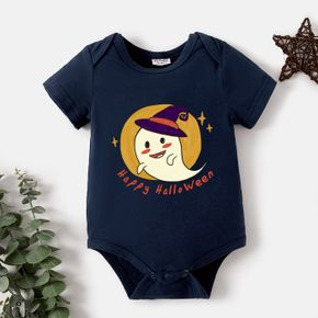 Halloween Baby Ghost and Stars and Letter Print Short-sleeve Romper