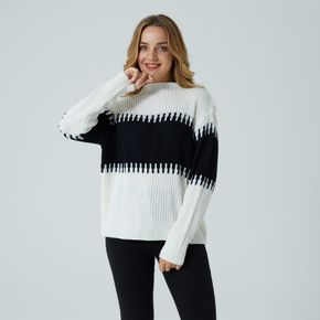 Maternity Black and White Two-Tone Half Turtleneck Long-sleeve Sweater