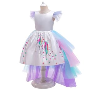 Kid Girl Flutter-sleeve Unicorn Star Print Backless Removable Layered Mesh Tailing Costume Party Dress