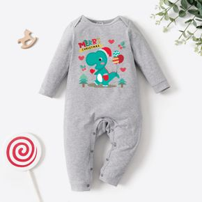 Christmas Baby Graphics Dinosaur and Heart-shaped and Balloon Print Long-sleeve Jumpsuit