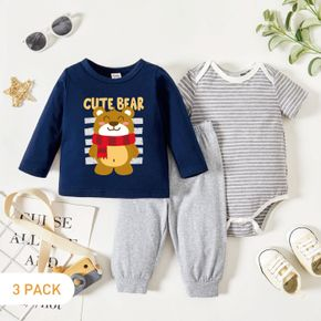 3-Pack Baby Graphics Letter and Bear Print Long-sleeve Tee & Striped Short-sleeve Romper & Pants Set