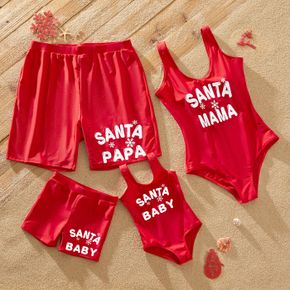 Christmas Letter Print Red Family Matching U Neck Sleeveless Swimsuits
