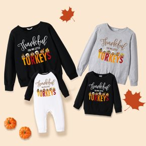 Thanksgiving Day Cartoon Turkey and Letter Print 100% Cotton Family Matching Long-sleeve Sweatshirts