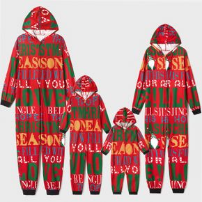 Christmas All Over Letter Print Red Family Matching Long-sleeve Hooded Onesies Pajamas Sets (Flame Resistant)