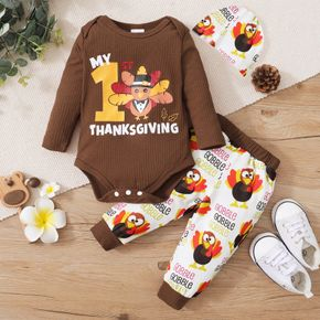 Thanksgiving Day 3pcs Baby Cartoon Turkey and Letter Print Long-sleeve Romper and Trousers Set