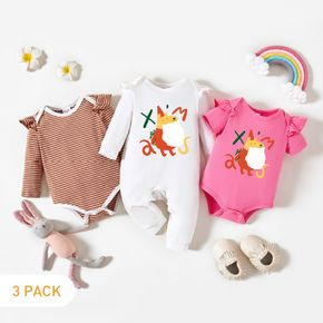 3-Pack Baby Graphic Christmas & Striped Ruffled Romper Jumpsuit Set