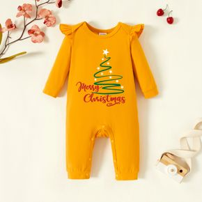 Baby Graphic Christmas Flutter-sleeve Ginger Long-sleeve Jumpsuit