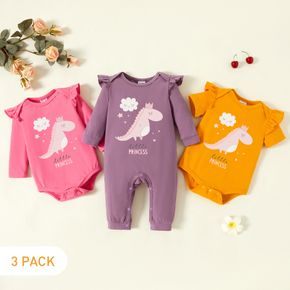 3-Pack Baby Girl Dinosaur and Cloud and Letter Print Ruffle Romper Jumpsuit Set
