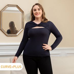 Women Plus Size Sexy Twist Knot Hollow out Long-sleeve Tee