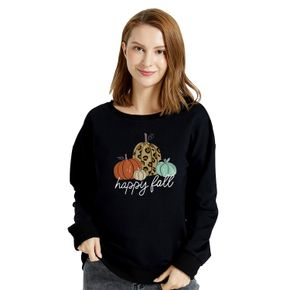 Graphic Black Long-sleeve Pullover For Women
