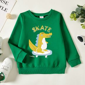 Toddler Boy Dinosaur and Letter Print Long-sleeve Pullover