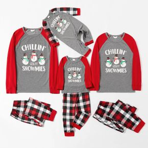 Christmas Snowman and Letter Print Family Matching Red Raglan Long-sleeve Plaid Pajamas Sets (Flame Resistant)