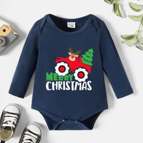 Christmas Baby Graphics Elk and Car and Letter Print Long-sleeve Romper
