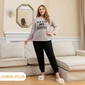 2-piece Women Plus Size Casual Letter Print Long-sleeve Tee and Drawstring Pants Set