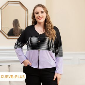 Women Plus Size Casual Button Design Striped Colorblock Long-sleeve Tee