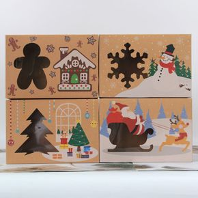4-pack Christmas Kraft Paper Box Candy Biscuit Packaging Box Window Biscuit Airplane Box Christmas Integrated Structure Packaging Box