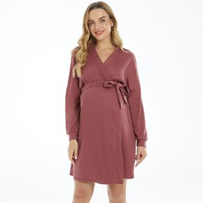 Maternity Surplice Neck Pure Color Long-sleeve Belted Nightgown