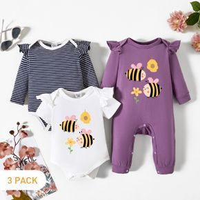 3-Pack Baby Girl Bee and Floral Print Striped Ruffled Romper Jumpsuit Set