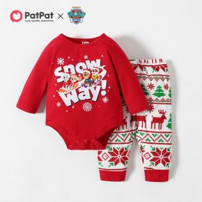 PAW Patrol Little Girl Christmas Cotton Bodysuit and Allover Pants