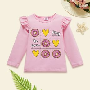 Toddler Girl Heart-shaped and Donut and Letter Print Ruffle Long-sleeve Tee