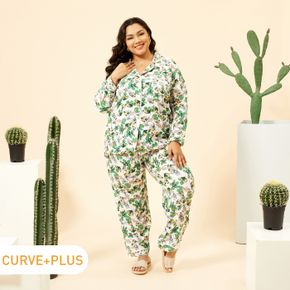 2-piece Women Plus Size Casual Butterfly Print Button Design Long-sleeve Top and Pants Lounge Set