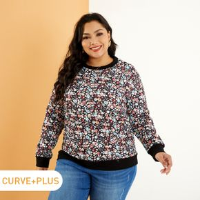 Women Plus Size Vacation Floral Print Pullover