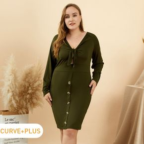 Women Plus Size Sexy V Neck Hollow out Tie Knot Long-sleeve Dress