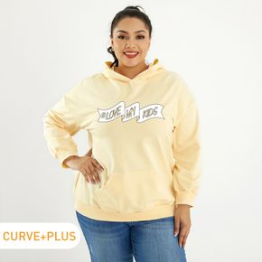 Plus Graphic Round Neck Long-sleeve Hooded For women