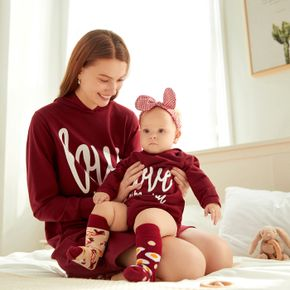 Letter Print Maroon Long-sleeve Hooded Sweatshirt Dress for Mom and Me